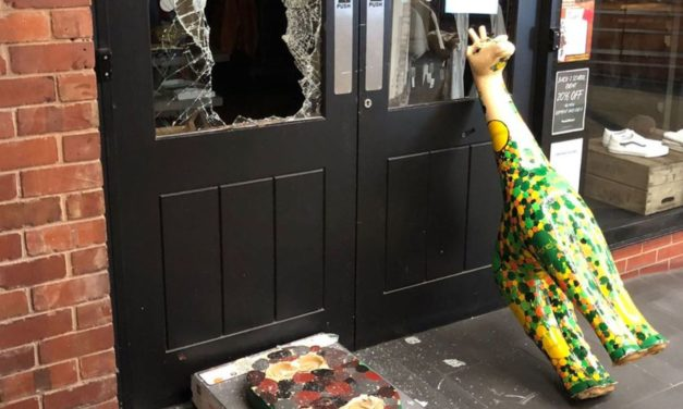 Charity giraffe sculpture used as burglary battering ram